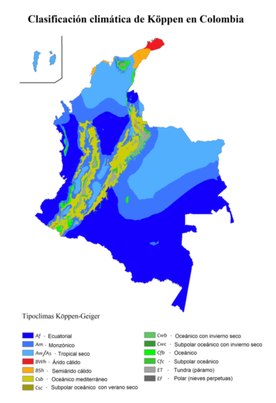 Map climate Colombia
