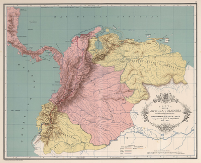 Map Gran Colombia, 1821